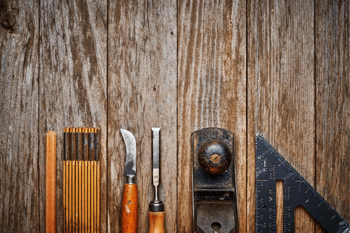tools on wood surface